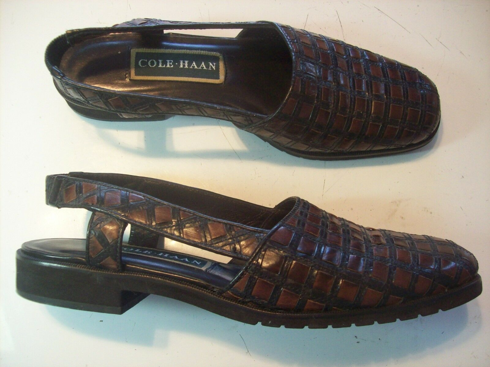 Cole Haan Brown Leather Loafers Fisherman Sandals Flats shoes Size 7 AA N Narrow