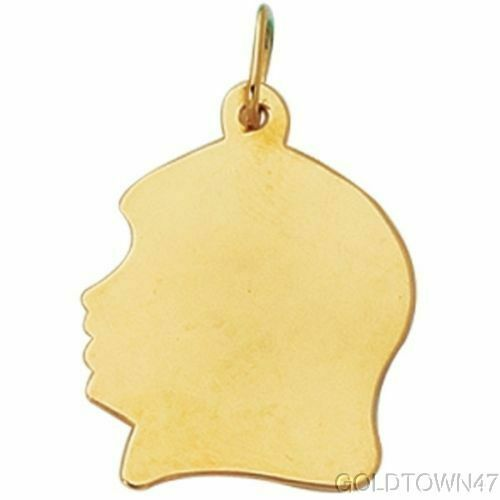 """/""""Disponible En 2 Taille/"""" Girl Head in 14K Or Jaune Brillant Charme"""