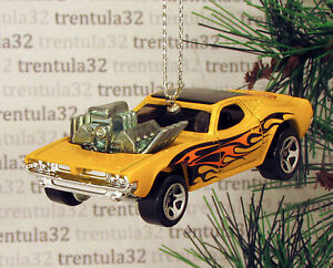 73 Dodge Charger Se 1973 Yellow Black Flames Muscle Car Christmas