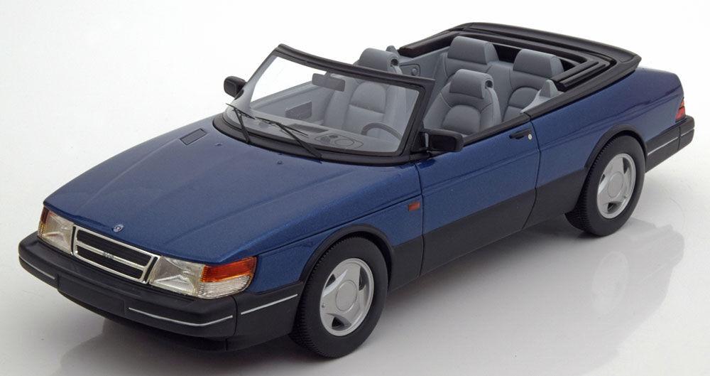 1987 Saab 900 S Convertible Bleu Met par Bos Modèles le de 1000 1 18 Échelle