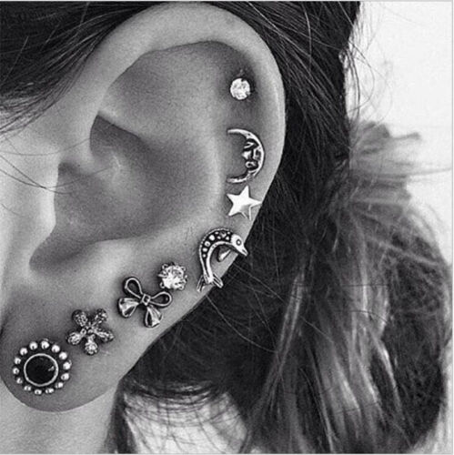 Tassel Earrings Fashion Women Ear Hook Plated Crystal Rhinestone Stud Ear Clip