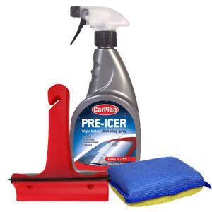 Carplan-Pre-De-Icer-Spray-500ml-3in1-Ice-Scraper-Squeegee-Demist-Pad-Car-Set