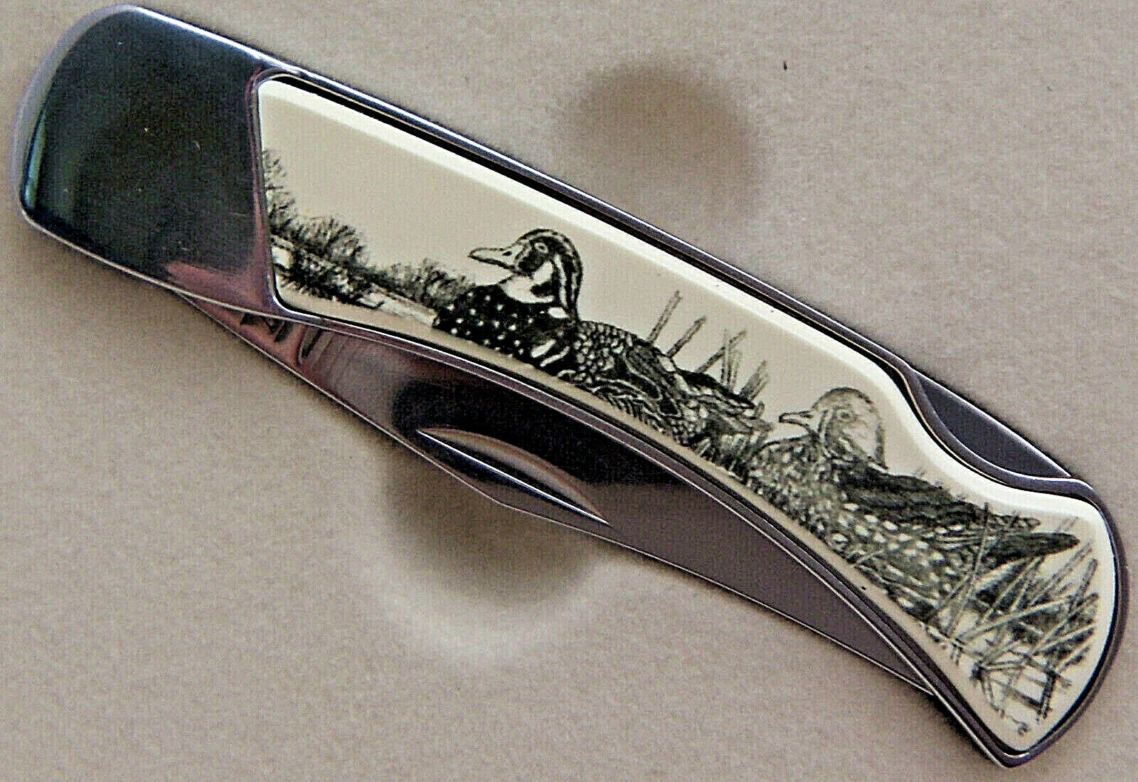 Lockback Knife Barlow Photo Reproduction Art Wood Ducks NEW 510125  n