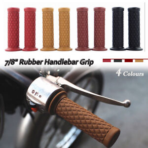 "2x 7/8"" 22mm Rubber Handlebar Hand Grip Bar End For Motorcycle Bike Cafe Racer"
