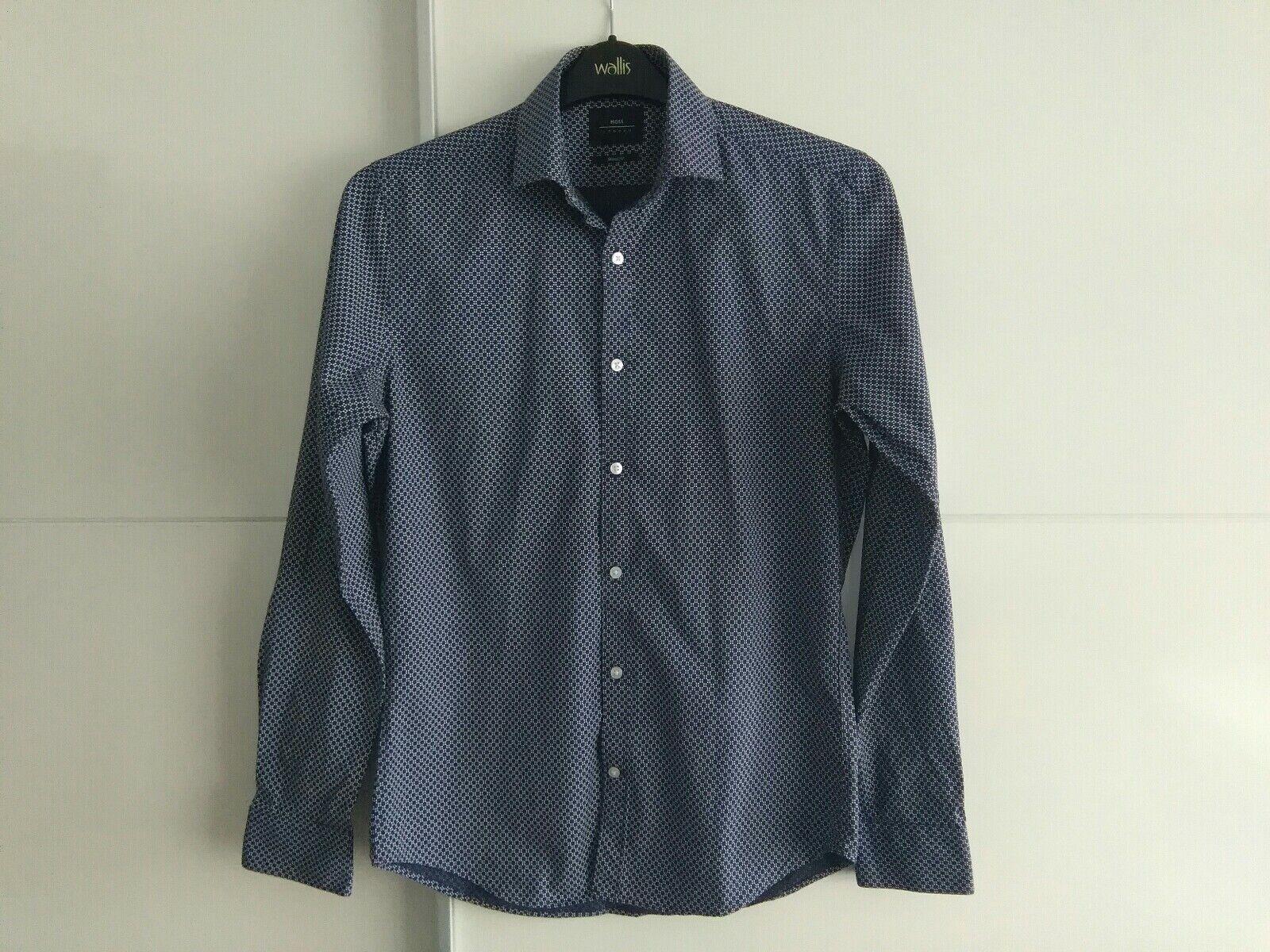 Men's blue pattern Moss London skinny fit shirts size 38 in. collar 15