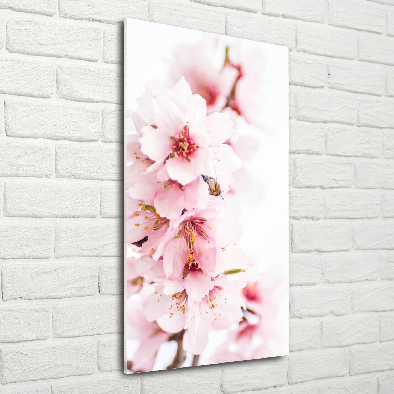 Wand-Bild Kunstdruck aus Acryl-Glas Hochformat 70x140 Mandelblüten