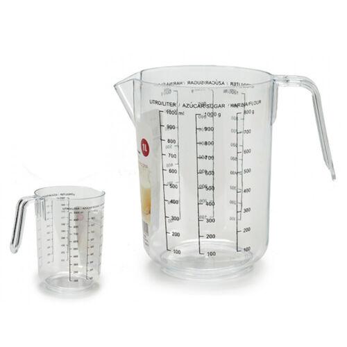 2 Piece Measuring Cup Set Plastic 1 Litre Kala Flour Sugar ART-1L