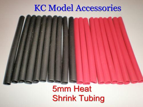 HEATSHRINK TUBING RED BLACK 5mm dia 10 Pairs 1.6 Metres