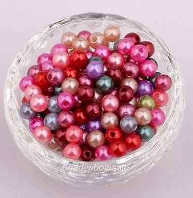 300pcs Wholesale Mixed Color Round Plastic Loose Bead Spacer Beads 6mm