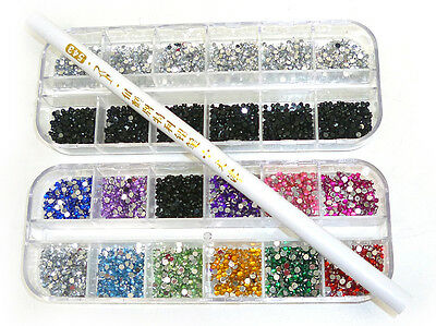 6000 pcs x 2mm RHINESTONES GEMS FOR NAIL ART DECORATION FREE PICKER PENCIL TOOL