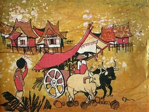 "Quinla.. Good For Energy And The Spleen Professional Sale Antique Thai Silk Painting …""ox And Cart"" By K"