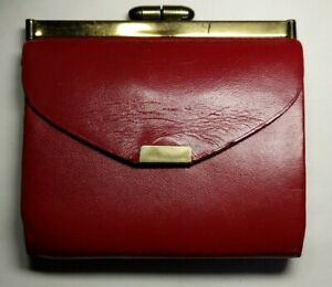 Amity-Vintage-Deep-Red-Leather-Folding-Wallet-purse-billfold-Original-Card