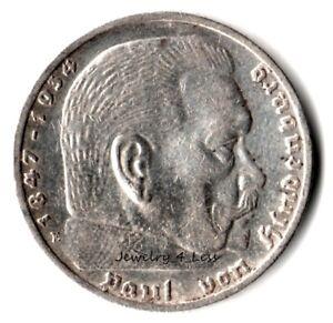 One-1-WW2-Germany-5-Mark-Silver-Coin-Third-Reich-Reichsmark-Hindenburg