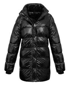 inverno caldo trapuntato Black lungo Shelikes Womens cappotto Ladies Jacket imbottito Collar zzU7Sq