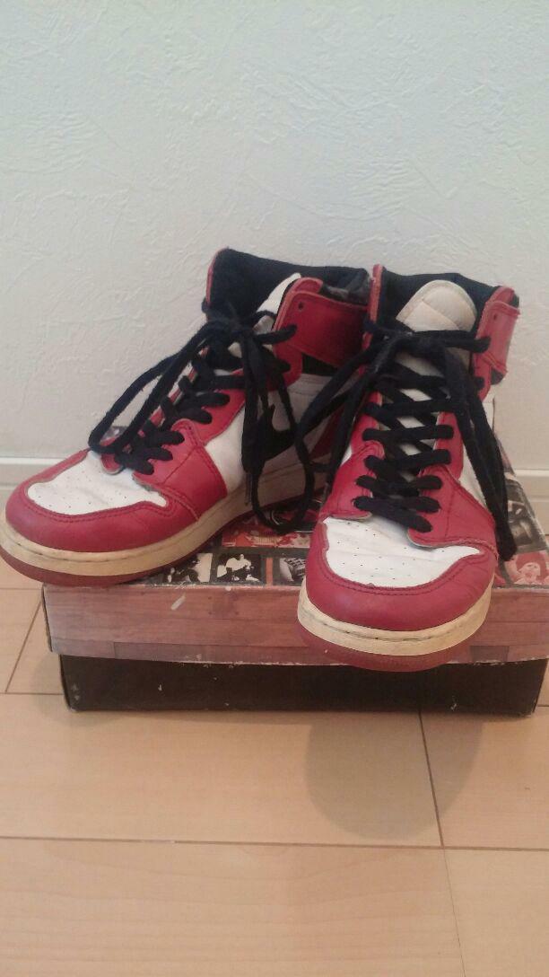 Used 1995 Nike Air Jordan 1 Sneakers Black Red White US 6 24.0cm With Box Rare