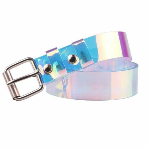 Transparente Frauen Gürtel Laser holographische klare Dornschließe breit