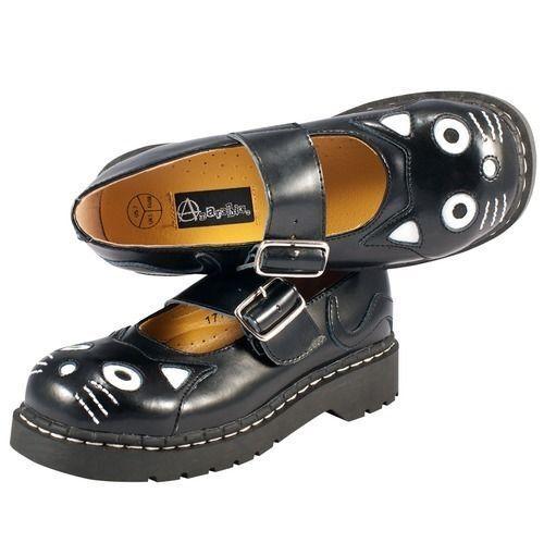 T.U.K. Womens Cat Mary Jane Flat Kitty Sz6 Black Leather Sz7 Black White