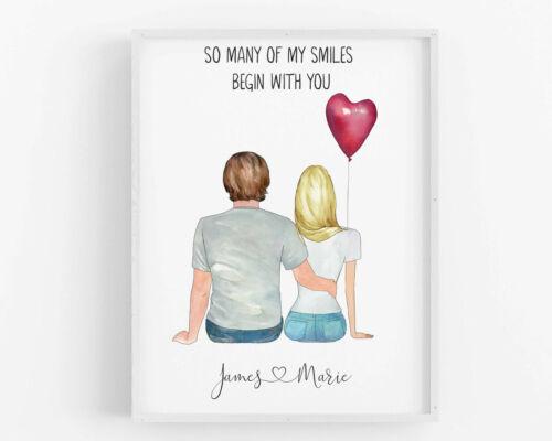 Personnalisé Cadeau St-Valentin les couples imprimé petite amie cadeau petit ami Custom