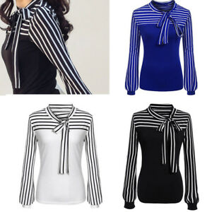 Womens-Ladies-Tie-Bow-Neck-Striped-Tops-Long-Sleeve-Splicing-T-Shirt-Blouse-WP