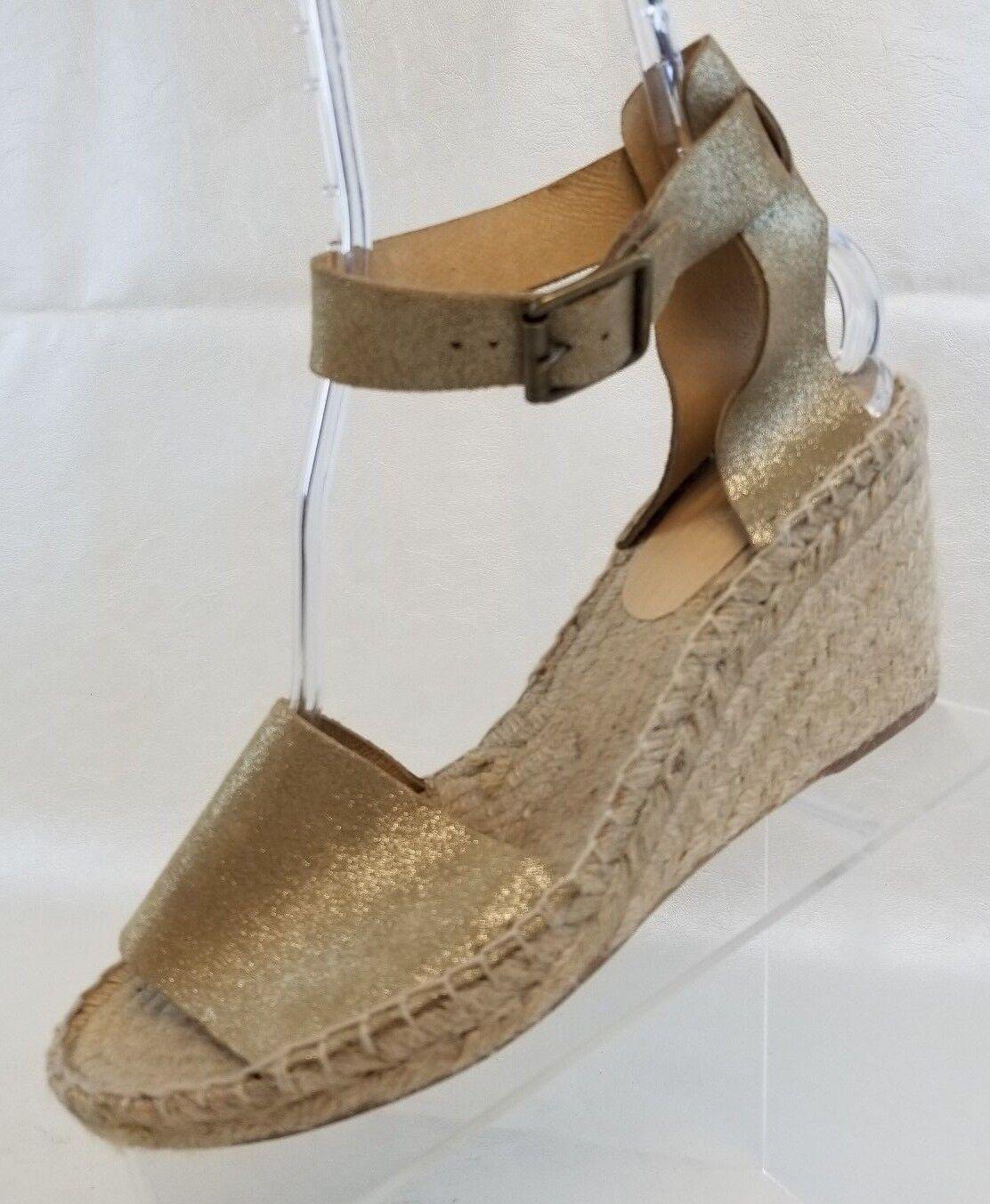J Crew Sandals Corsica Espadrille Wedge Open Toe Womens gold Metallic shoes 10