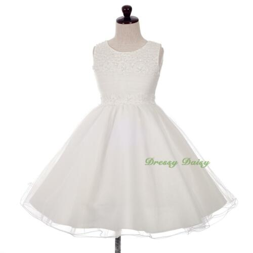 Sequin Beads Tulle Wedding Flower Girl Formal Occasion Dress Size 2-10 FG357