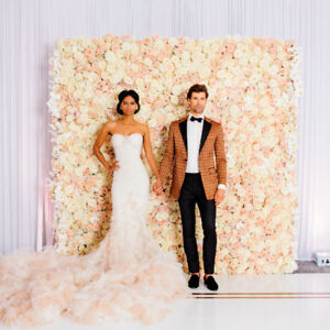 Details About Wedding Backdrop Supply Artificial Flower Champagne Silk Rose Wall Bride Decor