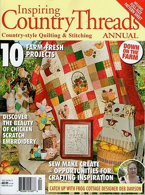 INSPIRING COUNTRY THREADS MAGAZINE VOL 14 NO 2. 2013.  PATTERN SHEET ATTACHED.
