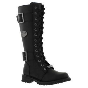 New-Harley-Davidson-Belhaven-Womens-Tall-Black-Leather-Biker-Boots-Size-UK-4-7-5
