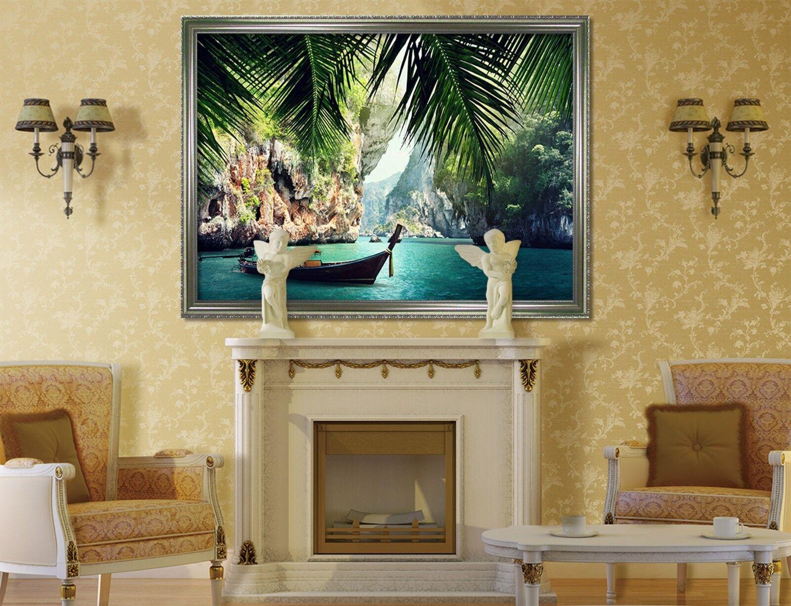 3D barco 51 Póster Enmarcado Lago Decoración del Hogar Pintura de Impresión Arte AJ Wallpaper
