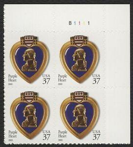 #3784 37c Violeta Corazón, Placa Bloque [B1111 Ur ], Nuevo Cualquier 5=