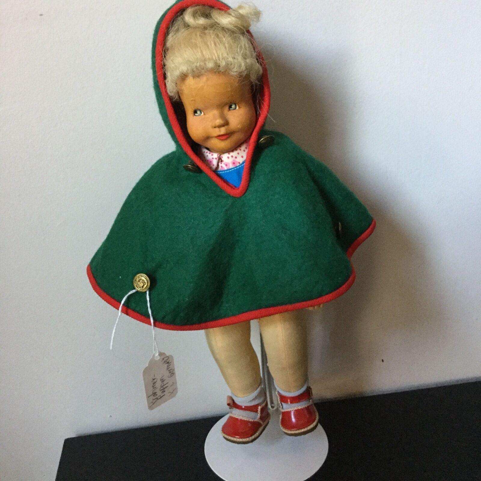 Alemán 14  Muñeca de madera Krahmer Puppen Todo Original
