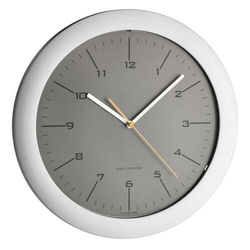 Design Wand Uhr Funkuhr besonders leise grau 305 mm Ø silber