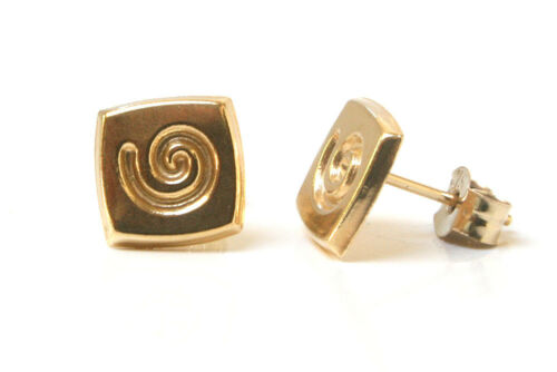 9ct Gold Swirl Square Stud Earrings Gift Boxed Made in UK