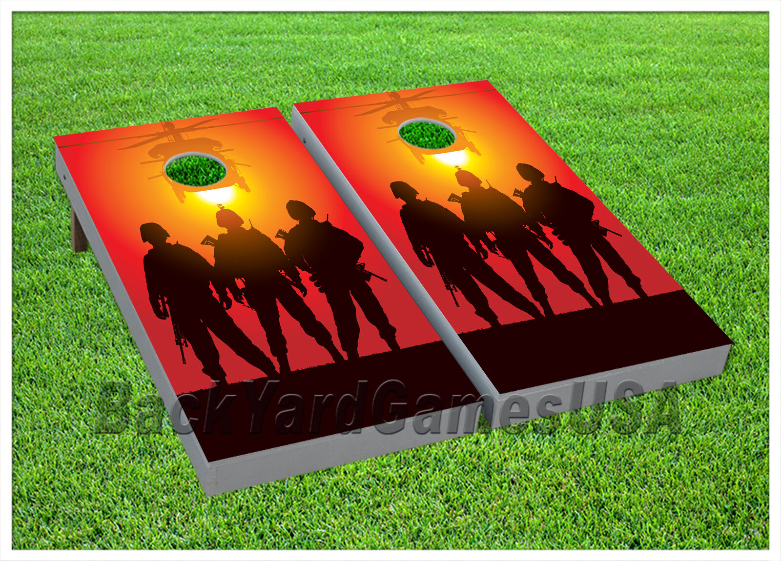 Army Troops CORNHOLE BEANBAG TOSS GAME w Bags Game Board Sunset Set 617