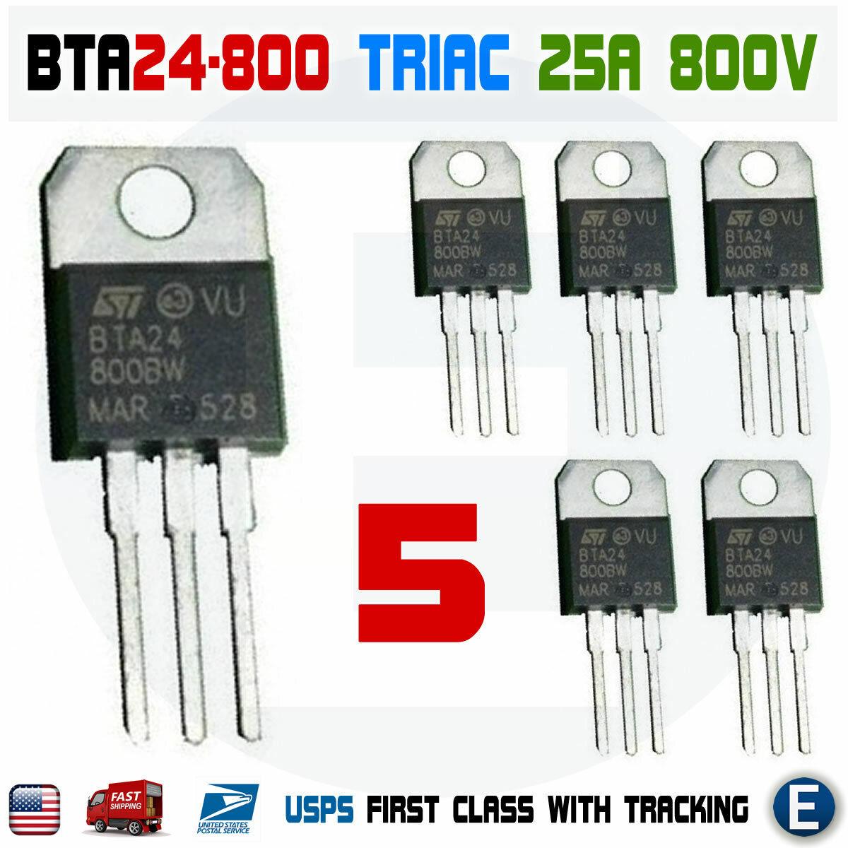 2  pcs BTA140-800  Triac  25A  800V  35mA   TO220  NEW  #BP