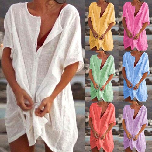 Femmes Plus Taille Manches Courtes Coton Robe Chemise Femmes Baggy Chemisier Haut Tunique