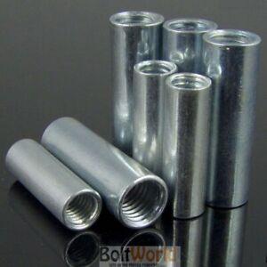 M6 / 6mm Tige Filetée Connecteur Rond Bar Stud Écrou Zinc Brillant Longue Nuts Bzp Bw-afficher Le Titre D'origine