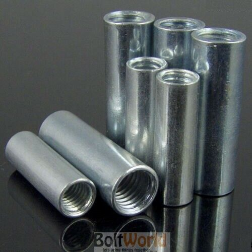 6mm Varilla Roscada Bar Stud Ronda Conector Tuerca Brillante Zinc largo NUTS BZP Bw M6