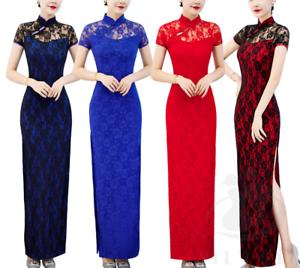 Women-Bodycon-Dress-Cheongsam-Side-Slit-Sexy-Lace-Slim-Dance-Party-Evening-Qipao