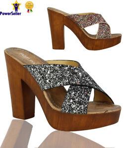 New-Womens-Ladies-High-Block-Heels-Open-Toe-Glittery-Slip-On-Party-Sandals