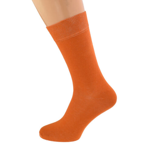 Plain Arancione Bruciato Cotone Rich Calze Unisex Uk 5-12 X6S240