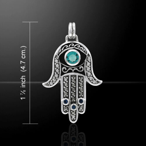 Hamsa .925 Sterling Silver Pendant with Gemstones by Peter Stone