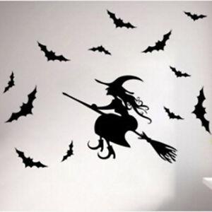 Flying witch on broom stick  VINYL DECAL Horror Halloween evil STICKER  car 4x6