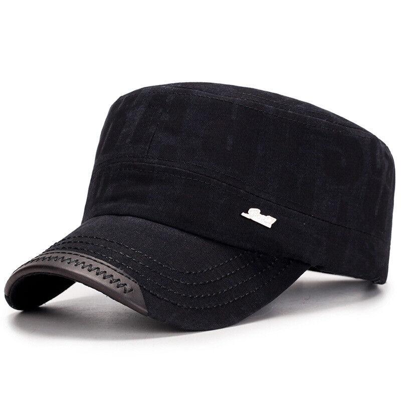 Herren Gewaschene Baumwolle Flach Top Hut Außen Sun Armee Verstellbar Kappe