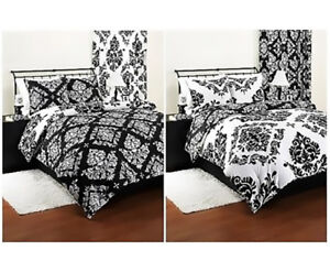 Details About Damask Bedding Set Comforter Modern Reverse Black White Clic Noir Shams King