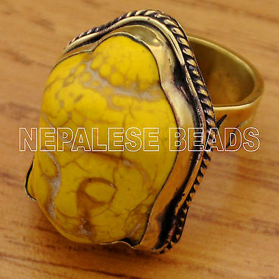 R787 Tibetan Nepalese Handmade Brass Yellow Howlite Buddha Head Adjustable Ring