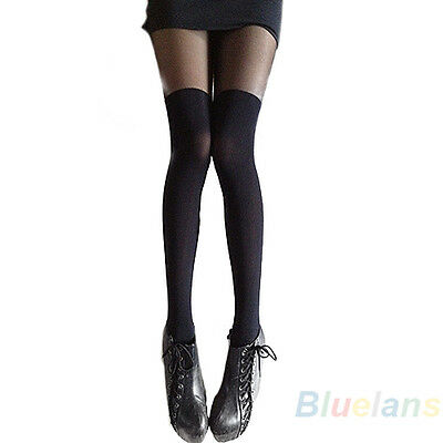 Fashion Sexy Gipsy Mock Ribbed Tights Thigh Over The Knee High Pantyhose B1AU