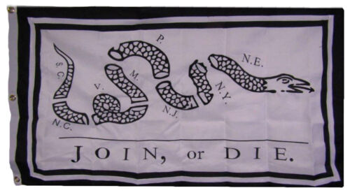 3x5 Embroidered Join Or Die Gadsden White Synthetic Cotton 3/'x5/' w// Clips