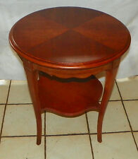 Round Mahogany Book Match Veneer Top Lamp Table / End Table by Drexel  (RP-T606)