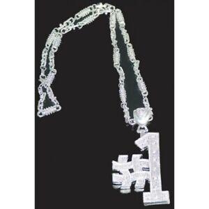 nuovo prodotto nuovi stili codici promozionali Dettagli su #1 Hashtag Argento Medaglione Collana Metallo Rapper Anni 90